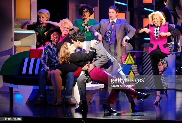 Caroline Sheen and Christopher Jordan Marshall and cast bow at the curtain call during the Gala Night performance of 9 To 5 The Musical at The Savoy...