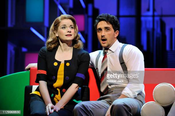 Caroline Sheen as Violet Newstead and Christopher Jordan Marshall as Joe in 9 To 5 The Musical directed by Jeff Calhoun at The Savoy Theatre on...