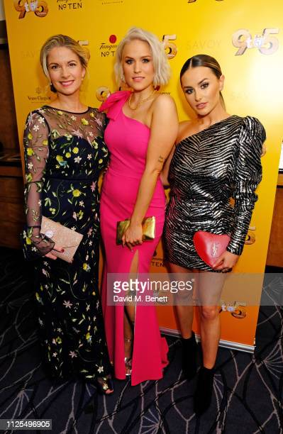 Caroline Sheen Natalie McQueen and Amber Davies attend the Gala Night after party for 9 To 5 The Musical at The Savoy Hotel on February 17 2019 in...