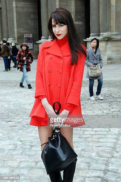 Caroline Sieber arrives to attend the Louis Vuitton Fall/Winter 2013 ReadytoWear show as part of Paris Fashion Week on March 6 2013 in Paris France