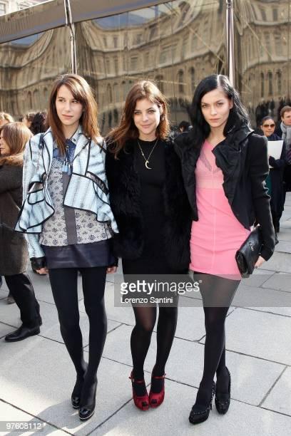Caroline Sieber Julia RestoinRoitfeld and Leigh Lezark arrive at the Louis Vuitton Ready to Wear show as part of the Paris Womenswear Fashion Week...