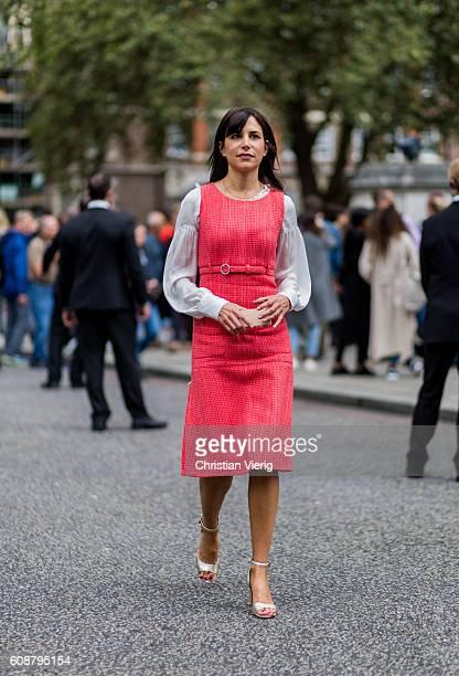 Caroline Sieber outside Christopher Kane during London Fashion Week Spring/Summer collections 2017 on September 19 2016 in London United Kingdom