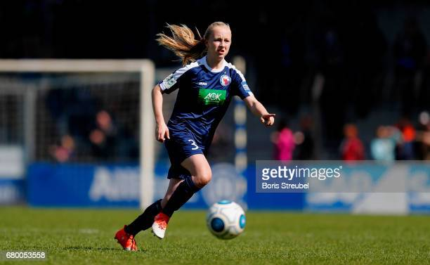 Caroline Siems of Turbine Potsdam runs with the ball during the Allianz Women's Bundesliga match between Turbine Potsdam and VfL Wolfsburg at...