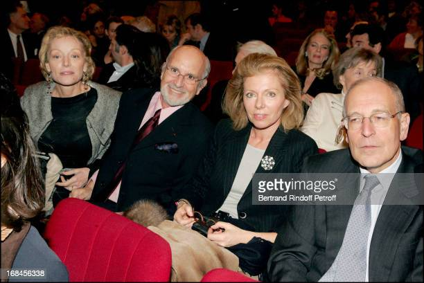 Caroline Sihol Jean Louis Livi Patrick Le Lay and wife at Amities Sinceres Performed By Bernard Murat And Michel Leeb At Edward VII Theatre