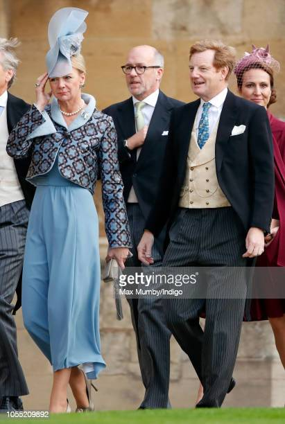 Caroline Stanley Countess of Derby and Edward Stanley Earl of Derby attend the wedding of Princess Eugenie of York and Jack Brooksbank at St George's...