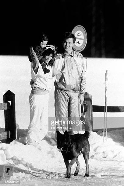 Caroline Stefano and Andrea In Saint Moritz Switzerland On March 02 1985