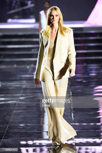 Caroline Trentini walks the CR Runway x LuisaViaRoma at Piazzale Michelangelo during the Pitti Immagine Uomo 96 on June 13 2019 in Florence Italy