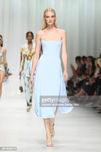 Caroline Trentini walks the runway at the Versace show during Milan Fashion Week Spring/Summer 2018 on September 22 2017 in Milan Italy