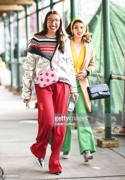 Caroline Vazzana and Belle Bakst are seen outside the Tadashi Shoji show during New York Fashion Week Women's A/W 2018 on February 8 2018 in New York...