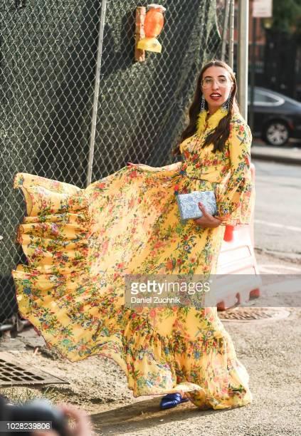 Caroline Vazzana is seen wearing Tadashi Shoji dress outside the Tadashi Shoji show during New York Fashion Week Women's S/S 2019 on September 6 2018...