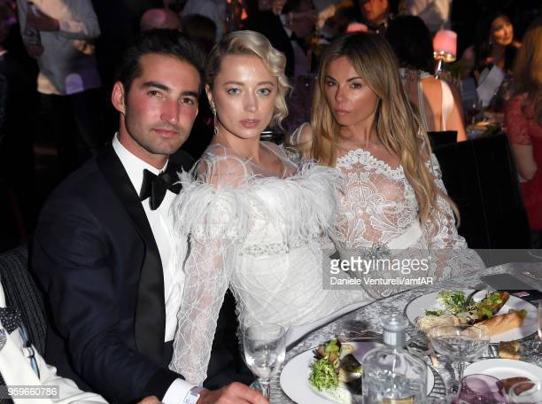 Caroline Vreeland and Erica Pelosini attend the amfAR Gala Cannes 2018 dinner at Hotel du CapEdenRoc on May 17 2018 in Cap d'Antibes France