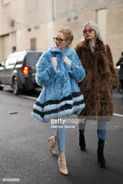 Caroline Vreeland and Shea Marie are seen attending Cushnie et Ochs during New York Fashion Week wearing fur coats on February 10 2017 in New York...