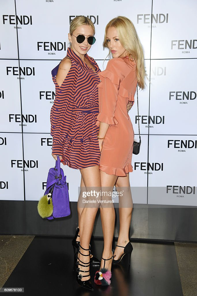 Caroline Vreeland and Shea Marie attend the Fendi show during Milan Fashion Week Spring/Summer 2017 on September 22, 2016 in Milan, Italy.