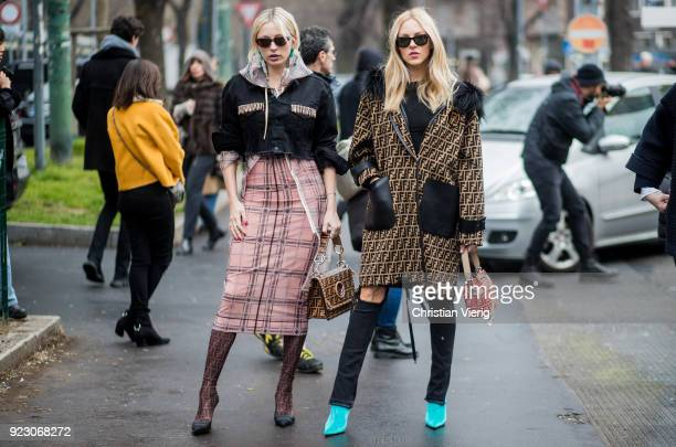 Caroline Vreeland and Shea Marie seen outside Fendi during Milan Fashion Week Fall/Winter 2018/19 on February 22 2018 in Milan Italy