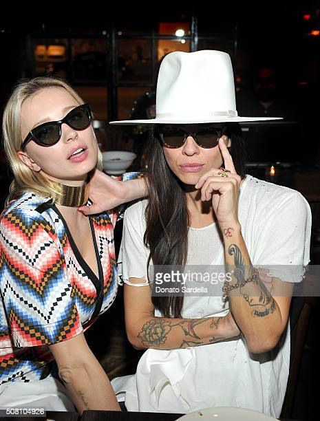 Caroline Vreeland and Tasya van Ree attend the celebration of a collaboration between Garrett Leight California Optical Clare V at Marvin on February...