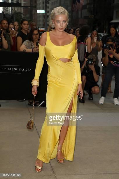 Caroline Vreeland arrives at the 6th annual fashion media awards at the Park Hyatt hotel on September 6 2018 in New York City