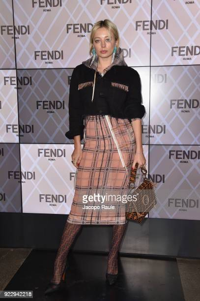 Caroline Vreeland attends the Fendi show during Milan Fashion Week Fall/Winter 2018/19 on February 22 2018 in Milan Italy