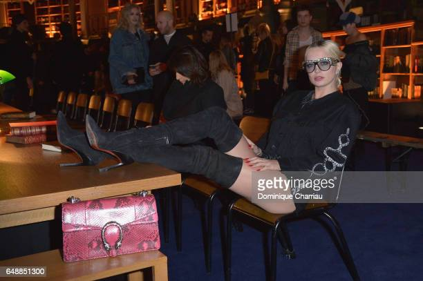 Caroline Vreeland attends the FENTY PUMA by Rihanna show as part of the Paris Fashion Week Womenswear Fall/Winter 2017/2018 on March 6 2017 in Paris...
