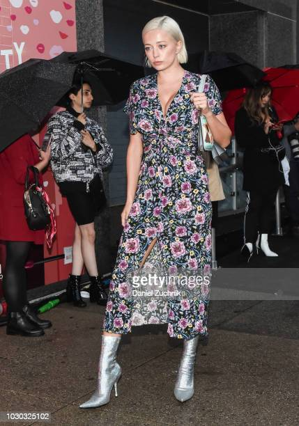 Caroline Vreeland is seen wearing a floral dress outside the Prabal Gurung show during New York Fashion Week Women's S/S 2019 on September 9 2018 in...