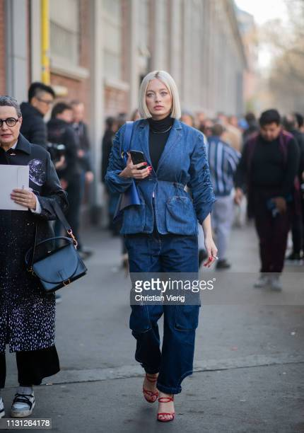 Caroline Vreeland is seen wearing denim jacket and jeans outside Fendi on Day 2 Milan Fashion Week Autumn/Winter 2019/20 on February 21 2019 in Milan...