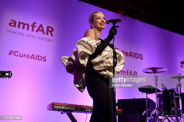 Caroline Vreeland performs onstage during the amfAR Gala New York 2019 at Cipriani Wall Street on February 06 2019 in New York City