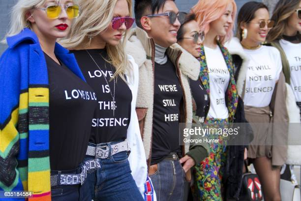Caroline Vreeland Shea Marie Irene Kim Aimee Song and Chriselle Lim are seen at Spring Studios outside the Phillip Lim show wearing black and white...