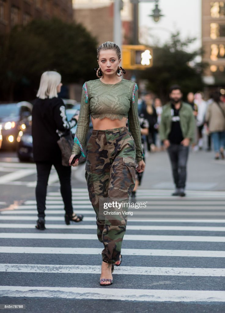 Caroline Vreeland wearing camouflage pants, cropped top seen in the streets of Manhattan outside Prabal Gurung during New York Fashion Week on September 10, 2017 in New York City.