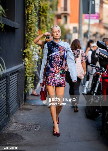 Caroline Vreeland wearing glitter dress is seen outside No 21 during Milan Fashion Week Spring/Summer 2019 on September 19 2018 in Milan Italy