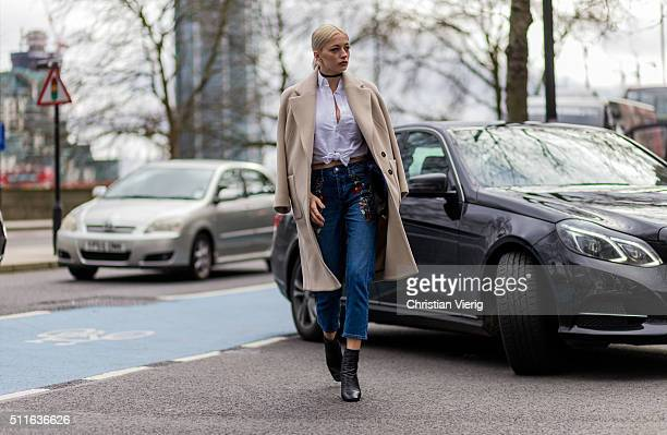 Caroline Vreeland wearing Topshop seen outside Topshop during London Fashion Week Autumn/Winter 2016/17 on February 21 2016 in London England