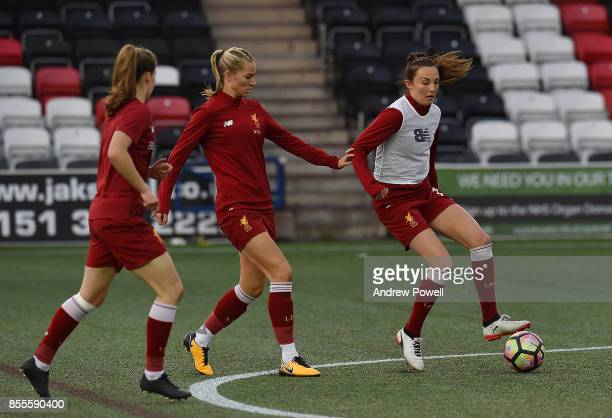 Caroline Weir and Gemmer Bonner of Liverpool Ladies warm up before the Women's Super League match between Liverpool Ladies and Reading FC Women at...