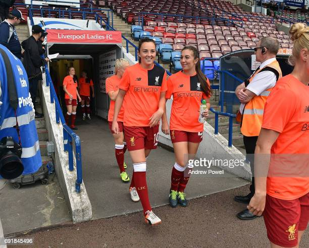 Caroline Weir and Katie Zelem of Liverpool Ladies during a WSL 1 match between Liverpool Ladies and Manchester City Women at Select Security Stadium...