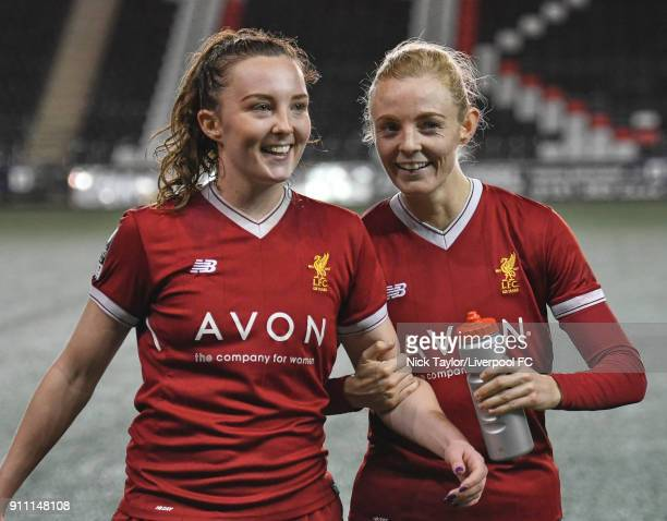 Caroline Weir and Sophie Ingle of Liverpool Ladies after the Liverpool Ladies v Bristol City Women WSL game at Select Security Stadium on January 27...