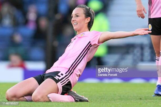 Caroline Weir celebrates her goal during the Women's International Friendly between Scotland and Jamaica at Hampden Park on May 28 2019 in Glasgow...