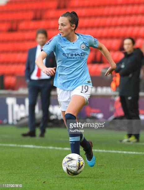 Caroline Weir in possession during the FA Women's Continental League Cup Final between Arsenal and Manchester City Women at the Bramall Lane Football...