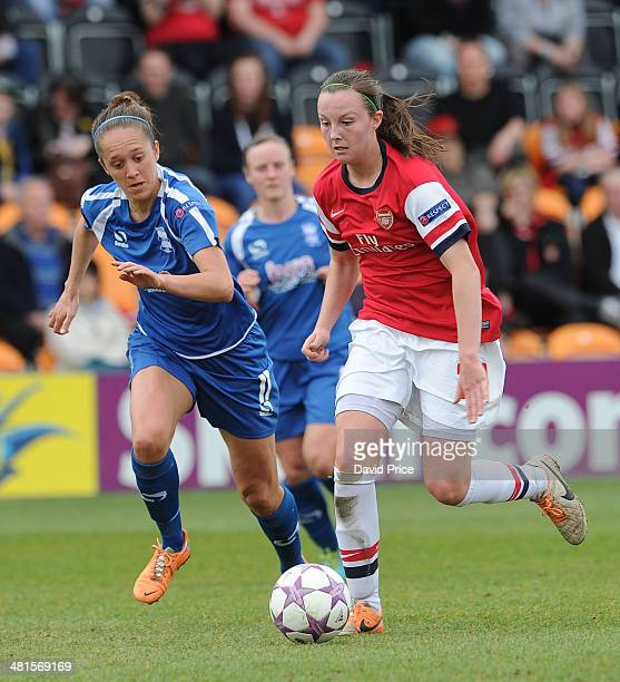 Caroline Weir of Arsenal Ladies takes on Josanne Potter of Birmingham during the match between Arsenal Ladies and Birmingham City Ladies in the UEFA...