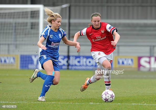 Caroline Weir of Arsenal Ladies takes on Kirsty Linnett of Birmingham during the match between Arsenal Ladies and Birmingham City Ladies in the UEFA...