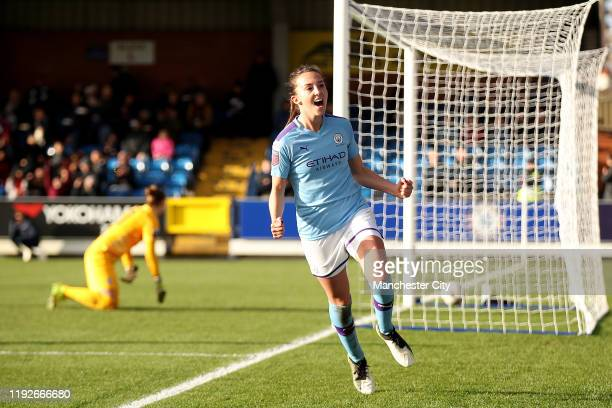 Caroline Weir of City scores their first goal during the Barclays FA Women's Super League match between Chelsea and Manchester City at Kingsmeadow on...