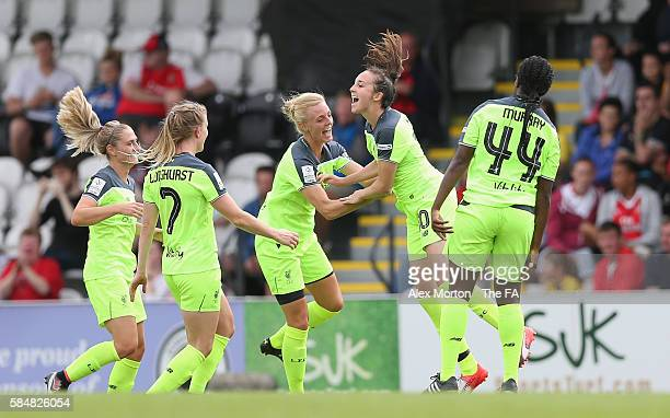 Caroline Weir of Liverpool celebrates scoring their second goal during the WSL match between Arsenal Ladies and Liverpool Ladies at Meadow Park on...