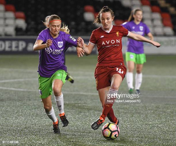 Caroline Weir of Liverpool Ladies and Julie Biesmans of Bristol City Women in action during the Liverpool Ladies v Bristol City Women WSL game at...