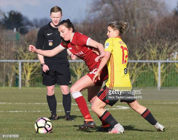 Caroline Weir of Liverpool Ladies and Simona Petkova of Watford Ladies in action during the SSE Women's FA Cup match between Liverpool Ladies and...