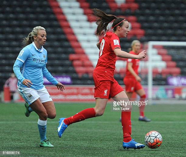 Caroline Weir of Liverpool Ladies and Toni Duggan of Manchester City Women in action during the Liverpool Ladies v Manchester City Women Women's FA...