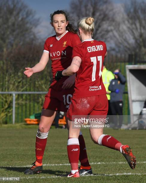 Caroline Weir of Liverpool Ladies celebrates scoring the second goal of the game with team mate Bethany England during the SSE Women's FA Cup match...