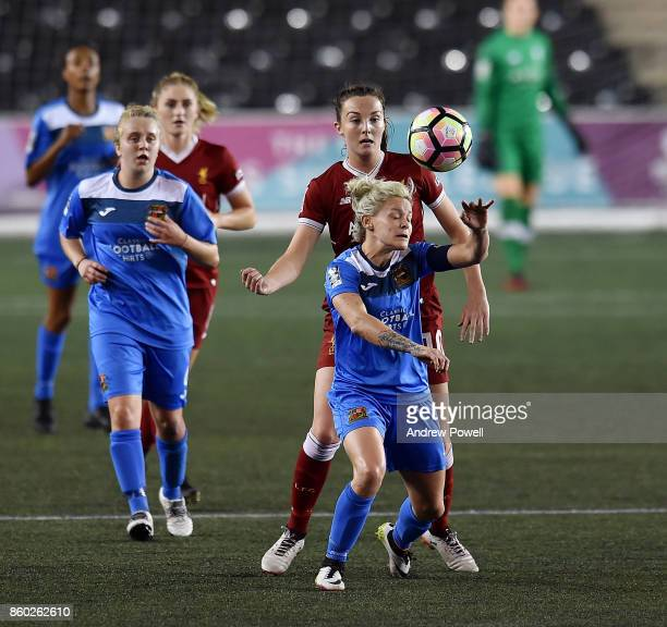 Caroline Weir of Liverpool Ladies competes with Ellie Gilliatt of Sheffield FC Ladies during the Women's Super League match between Liverpool Ladies...