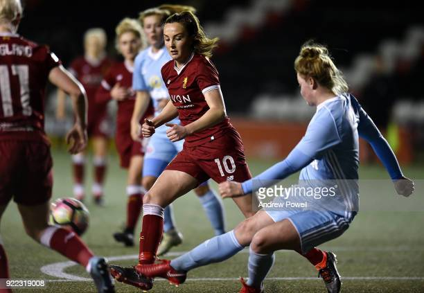 Caroline Weir of Liverpool Ladies competes with Ellie Stewart of Sunderland Ladies during the FA WSL match between Liverpool Ladies and Sunderland...