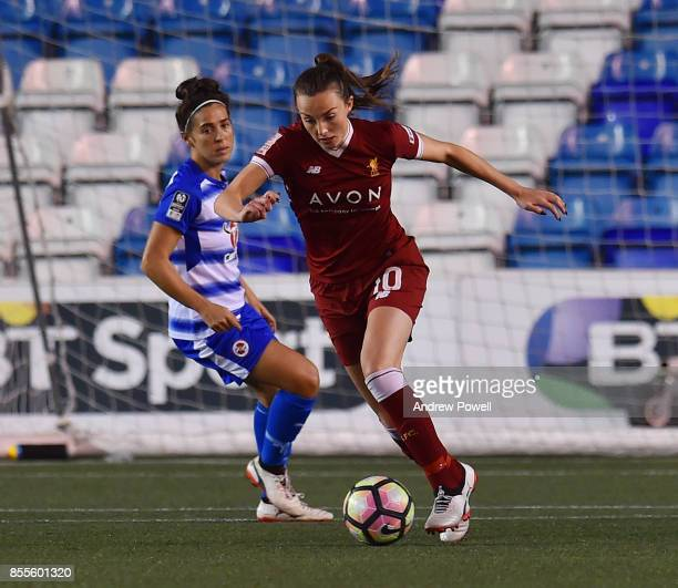 Caroline Weir of Liverpool Ladies competes with Fara Williams of Reading Women during the Women's Super League match between Liverpool Ladies and...