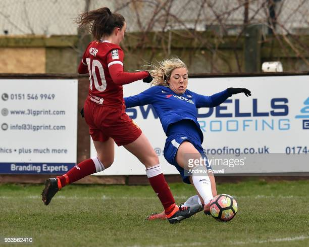 Caroline Weir of Liverpool Ladies competes with Gemma Davison of Chelsea Ladies during the SSE Women's FA Cup Quarter Final match between Liverpool...