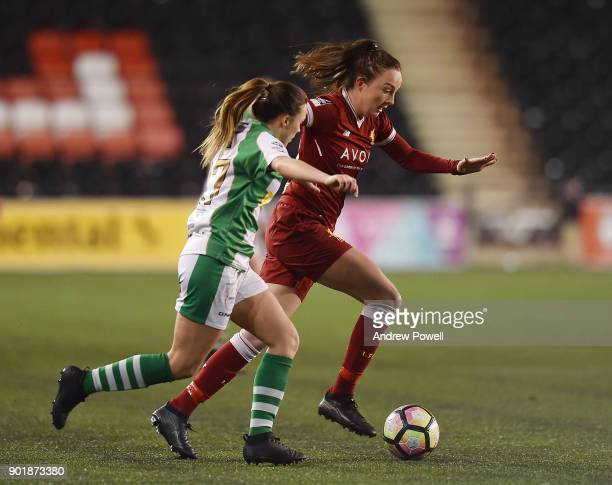 Caroline Weir of Liverpool Ladies competes with Georgia Evans of Yeovil Town Ladies during the FA Women's Super League match between Liverpool Ladies...