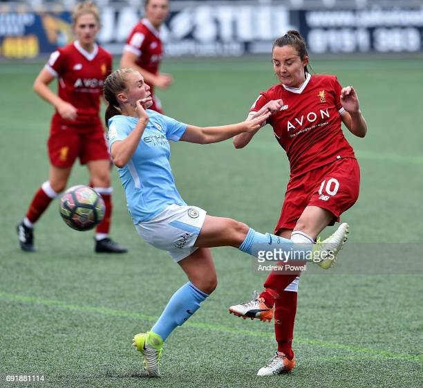 Caroline Weir of Liverpool Ladies competes with Georgia Stanway of Manchester City Women during a WSL 1 match between Liverpool Ladies and Manchester...