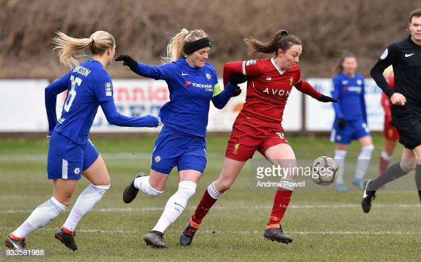 Caroline Weir of Liverpool Ladies competes with Kaite Chapman of Chelsea Ladies during the SSE Women's FA Cup Quarter Final match between Liverpool...