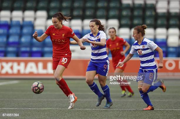 Caroline Weir of Liverpool Ladies competes with Lauren Bruton of Reading FC Women during a Women's Super League match between Liverpool Ladies and...